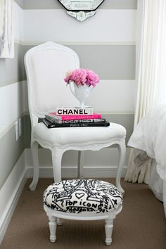 DIY footstool to go with armchair in living room. Add tray for side table use.