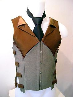 Fantastic hybrid of menswear corsetry Steampunk Mode Steampunk, Victorian Steampunk, Steampunk Clothing, Steampunk Fashion, Renaissance Clothing, Mode Alternative, La Mode Masculine, Herren Outfit, Drawing Clothes