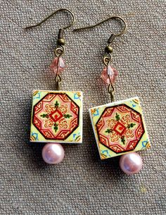 Portugal Antique Azulejo Tile Replica Earrings from by Atrio, $14.00