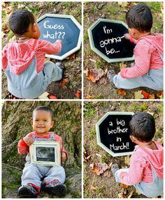 Fun sibling pregnancy announcement! Good trick for a distracted/uncooperative sibling :)