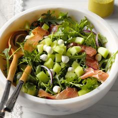 Honeydew & Prosciutto Salad Recipe -For parties, I turn melon and prosciutto into an easy salad with a honey mustard dressing. To add zip, stir in fresh basil and mint. —Julie Merriman, Seattle, Washington