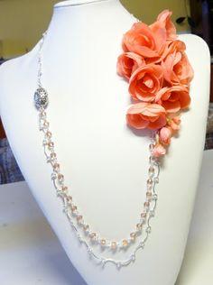 Silk flowers in necklace