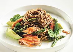 Soba Noodle Salad with Salmon, Asparagus, Spinach and Avocado - I could eat this every day - a.p.