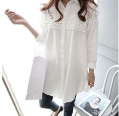 f8cbb4655e3ab Loose Maternity Blouse With Lace. Loose TopsLoose ShirtsLong Sleeve  ShirtsClothes For Pregnant WomenCotton ...