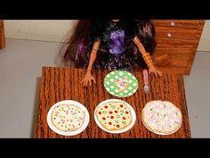 Como fazer pizza (de cola quente) para boneca Monster High, Barbie, etc - YouTube
