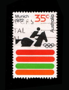 Australian stamp for the 1972 Olympic games in Munich    A nice complementary response to Otl Aicher's design for the 1972 Olympic games by Australian graphic designer Brian Sadgrove.