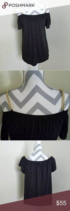 """NWT MK Off Shoulder Chain Top🖤 ♡NWT! Michael Kors black ruffle sleeve top w/gold chain straps (color in pics exact)  ♡Size medium and soft fabric! Can be worn like pic 1 or 3! ♡20.5"""" length from shoulder to bottom ♡Bought for $100, feel free to ask any questions or make a reasonable offer! ♡FREE GIFT W/$15 PURCHASE😄 Michael Kors Tops Blouses"""