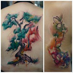 tattoo paz wiesbaden baum schmetterling watercolour