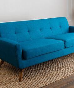 Loving this Blue Bradley Tufted Sofa on #zulily! #zulilyfinds