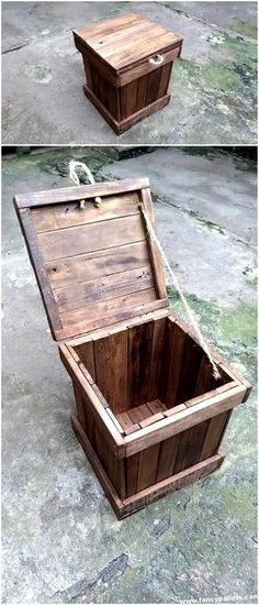 Use Pallet Wood Projects to Create Unique Home Decor Items – Hobby Is My Life Wood Pallet Recycling, Recycled Pallets, Wooden Pallets, Pallet Wood, Outdoor Pallet Projects, Pallet Crafts, Wood Projects, Wood Crafts, Pallet Chest