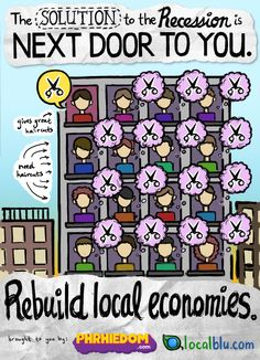 Reecession Solution: Development of local economies Great Haircuts, Buy Local, Next Door, Infographics, Community, Sign, App, Friends, Beautiful