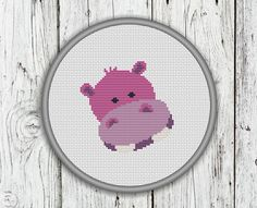 Cute Hippo Face Counted Cross Stitch Pattern von CrossStitchShop