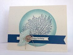 "Stampin' Up! By The Tide Card  Supplies:  Stamps: By The Tide*, Tiny Tiny Wishes  CS: Naturals Ivory, Not Quite Navy  Ink: Baja Breeze, Not Quite Navy  Accessories: 3"" Circle Die, Silver Button, Linen Thread  * from Spring Catalog"