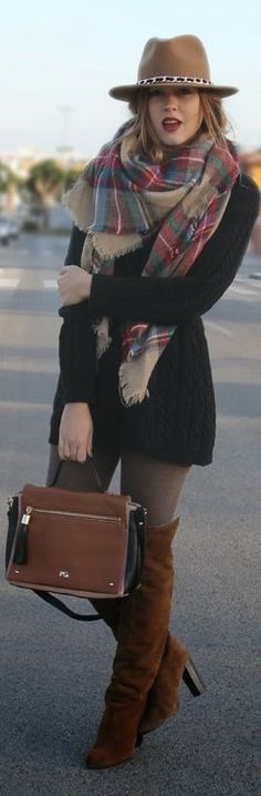 Love the scarf, the bag, the sweater, and the hat.
