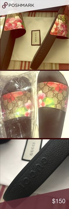 Slippers. Pink flower 🌺 Pink Gucci slippers Gucci Shoes Slippers