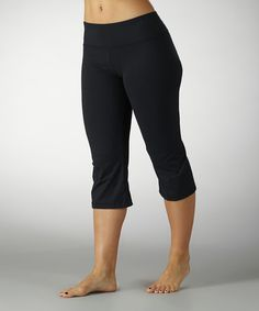 Another great find on #zulily! Black Sanded Dry-Wik Capri Pants - Women by Marika #zulilyfinds