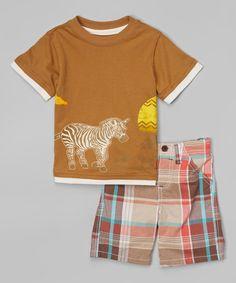 This Beige Safari Tee & Plaid Shorts - Kids by BOYZ WEAR is perfect! #zulilyfinds