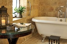 EXCLUSIVE SUITES. OLD TOWN, RHODES, GREECE. kokkiniporta.com Green Marble, Medieval Town, Rhodes, Clawfoot Bathtub, Wood Table, Old Town, Modern Design, Greece, Boutique