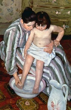"Happy #MasterpieceMonday! To celebrate family over the holiday season and how #ArtMeansMore, we wanted to highlight Mary Cassatt's beautiful 1893 masterpiece ""The Child's Bath (The Bath)."" While she never had children of her own, Cassatt loved painting them. By creating this quiet scene between mother and child from an elevated standpoint, it's like she's inviting us to observe, but not be a part of, the tender moment. And that's just how it should be. http://go.art.com/thebath"