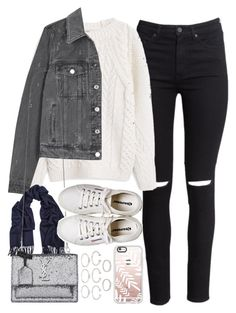 """""""Outfit for winter"""" by ferned ❤ liked on Polyvore featuring H&M, MANGO, Givenchy, Acne Studios, Yves Saint Laurent, Henri Bendel, Forever 21 and Casetify"""