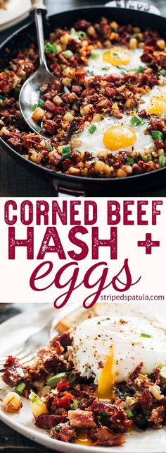 Corned Beef Hash and Eggs Breakfast Skillet | Corned Beef Hash Recipe | Corned Beef Hash Homemade | Leftover Corned Beef Recipes | Breakfast Skillet | Breakfast Skillet Potatoes | Breakfast | Breakfast Recipes Easy | St Patricks Day Food | Baked Eggs Oven | Egg Recipes for Breakfast | Potato Recipes | #stripedspatula #cornedbeef #eggs #breakfastrecipes #brunch #potatoes #stpatricksday