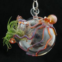 Thursday Handmade Love Week 68 Theme: Octopus Includes links to patterns Pick Your Color Octopus Hanging Terrarium via Etsy Hanging Terrarium, Glass Terrarium, Weird Jewelry, Glass Globe, Tentacle, Air Plants, Diy Craft Projects, Craft Gifts, House Plants