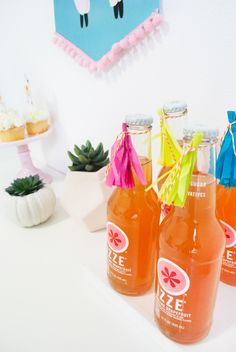 Party Drinks with Tissue Paper Tassels