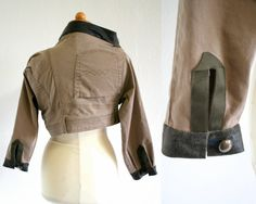 Unique denim jacket  with brown faux leather  upcycled by Bartinki, $80.00
