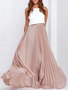Fashion Pleated Skirts Women Zipper Waist A Line Floor Length Long Skirt Chiffon Maxi Skirt Custom Made Faldas Saia Maxi Skirt Long Chiffon Skirt, Pink Pleated Skirt, Beige Skirt, Nude Skirt, Pink Maxi, Skirt Outfits, Dress Skirt, Dress Up, Maxi Skirts