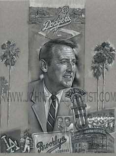 Preliminary sketch for Dodger broadcaster Vin Scully painting- 2016 will be his last- year calling games for the Dodgers. Dodgers Nation, Let's Go Dodgers, Dodgers Girl, Dodgers Baseball, Vince Scully, Sandy Koufax, Mlb The Show, America's Pastime, Dodger Blue