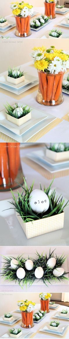 "Cutest Easter Tablescape from ""Love Grows Wild"" Easter Table Decorations, Easter Decor, Easter Table Settings, Easter Ideas, Hoppy Easter, Easter Eggs, Easter Recipes, Easter Dinner, Easter Brunch"