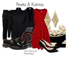 """Peeta & Katniss"" by evalupin ❤ liked on Polyvore featuring Jack & Jones, Maison Margiela, Emporio Armani, red line, Paul Smith, Lucky Brand, TFNC, Ganni, Charlotte Russe and Hungergames"