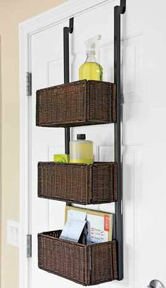 Over The Door Storage Rack Wicker Basket Small Bathroom
