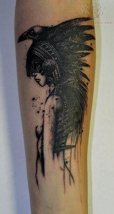 native american beautiful tattoos | Native Crow Tattoo On Arm