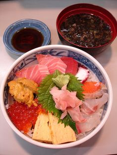 Kaisendon with Sea Urchin. From this article about Tokyo's Tsukiji fish market: Not Just Fish