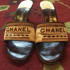 AUTHENTIC CHANEL SANDALS SZ 36/6 100 percent authentic Chanel kitten heel sandals. Worn only a handle of times. Bought at Neiman Marcus. CHANEL Shoes Heels