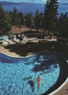 Cali-Neva Lodge in Lake Tahoe, swimming pool on both sides of the state line, once co-owned by Frank Sinatra