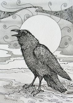 ORIGINAL crows Ravens CHATTER BOX pop birds Zentangle archival ink paper 5x7