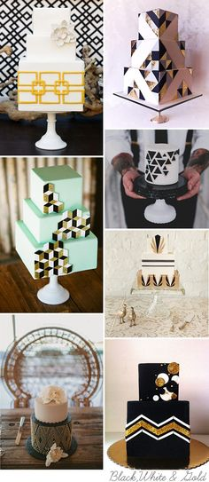 Black-white-gold1. Read More - http://onefabday.com/geometric-wedding-cakes/