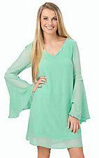 Rock 47 Women's Turquoise Bell Sleeve Dress