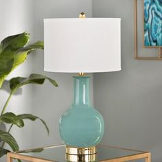 Found it at Wayfair - Montag H Table Lamp with Drum Shade Blue Table Lamp, Table Lamp Base, Table Lamp Sets, Lamp Bases, Accent Lighting, Modern Lighting, Lamp Cord, Contemporary Table Lamps, Modern Rustic Interiors