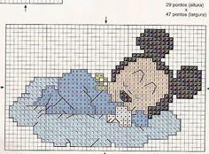 baby Mickey Xmas Cross Stitch, Cross Stitch Letters, Cross Stitch For Kids, Cross Stitch Baby, Cross Stitch Charts, Cat Cross Stitches, Cross Stitching, Cross Stitch Embroidery, Disney Stitch