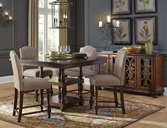 Baxenburg Brown Square Counter Height Dining Room Table w/4 Upholstered Chairs