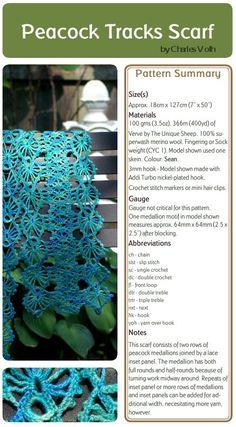 beaded peacock pattern | PATTERNFISH - Peacock Tracks Scarf (Crochet)