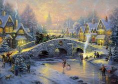 Thomas Kinkade: Dorp in de Sneeuw (1000) stukjes
