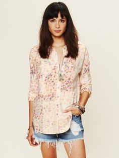 Free People Bleached Floral Button Down at Free People Clothing Boutique