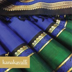 Six yards of glorious silk in the beautiful colour of the sea and sky! This royal dark blue coloured Kanakavalli Kanjivaram combines tradition and style. The contrasting dark green border with gold embellishments on a black background creates an aura of class and elegance. Blue, said to be the world's favourite colour is our Colour of the week.