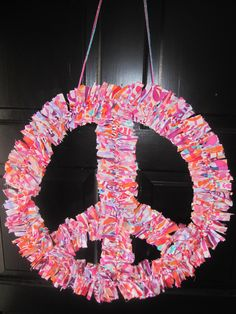 Peace Sign Fabric Wreath