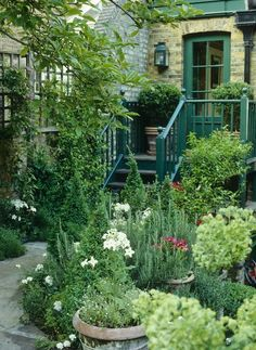 Details: Green Country Garden Keywords: Pink Town House Closed White Brick Door Garden Back Door Courtyard Landscaping Flowers Town
