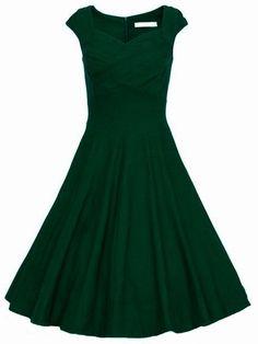 Dark Green Raw Waterfall Underskirt Heart Shape Collar Sleeveless Flare Dress